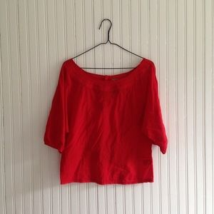 Free People   Red Cropped Blouse size 6 o